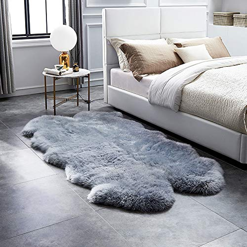 HUAHOO Genuine Sheepskin Rug Real Sheepskin Blanket Natural Fur Quarto 4ft x 6ft, Silver Grey