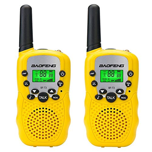 BYBOO Baofeng T3 Kids Walkie Talkies Mini Two Way Radios for Boys Girls Children UHF 462-467MHz Frquency 22 Channels - 1 Pair Yellow