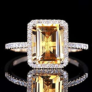 Fashion Women Jewelry 925 Silver Citrine Wedding Jewelry Ring Gift Size 6-10#by pimchanok shop