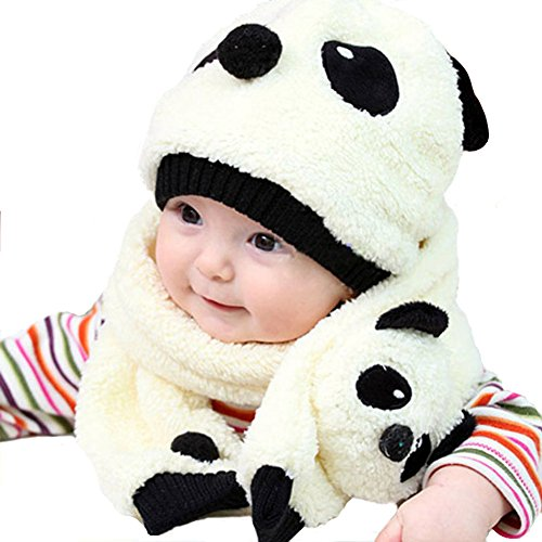Chinatera Warm Cartoon Baby Fleece Panda Cap Hat Beanie with Scarf for 5-36M(Milk White)