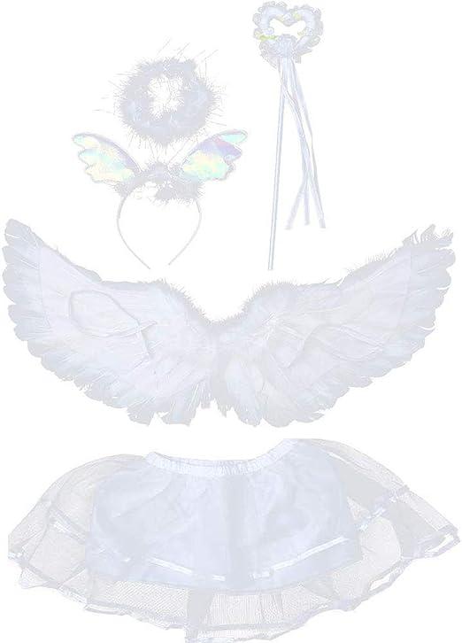 Yibaision - Alas de Plumas de ángel para niños, alas de ángel 3D ...