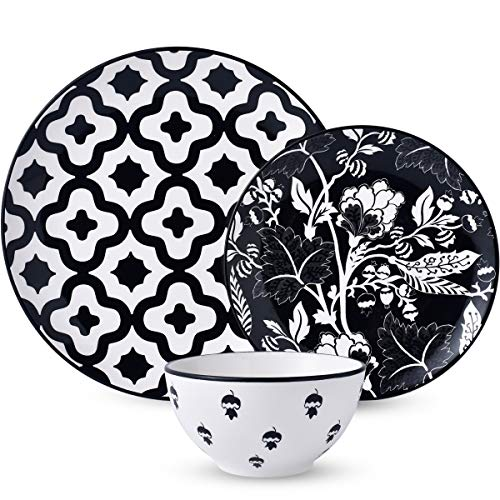 12-Piece Dinnerware Set,DL Stylish Dishes Dinner Plate Set Service for 4, Black Ceiba (Plate Set And Black Bowl)