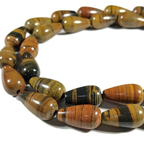 [ABCgems] Extremely Rare Madagascan Chocolate Petrified Wood AKA Fossilized Wood (Exquisite Tiger Matrix- Grade AA) 8x16mm Smooth Tear Drop Beads For Beading & Jewelry Making