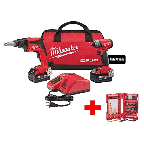 M18 FUEL 18-Volt Lithium-Ion Brushless Cordless Drywall Screw Gun/Impact Driver Combo Kit with Shockwave Set (50-Piece)
