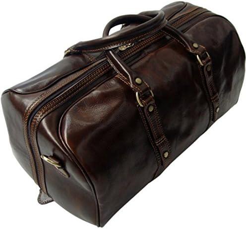 Genuine Italian Leather Holdall Cabin Bag Overnight Weekend Case Duffel Hand Luggage Overnight, Dark brown