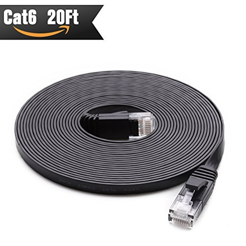 Cat 6 Ethernet Cable 20 ft (at Cat5e Price but Higher Bandwidth) Cat6 Internet Network Cable Flat - Ethernet Patch Cable - Computer Cable - Enjoy High Speed Surfing - Black