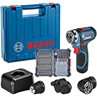 Bosch Professional GSR 12V-15 FC - Atornillador a batería (12V, 30 Nm, 3 cabezales FlexiClick, 1…