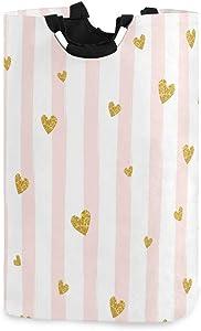 "HousingMart 22.7""(H) Collapsible Laundry Hamper Glitter Heart Stripe Pattern Laundry Basket Organizer Large with Handle Foldable Clothes Hamper"