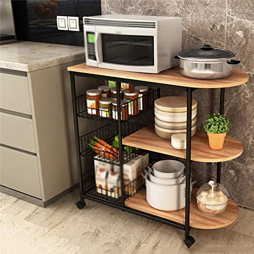 Kitchen Cart Kitchen Rack Microwave Oven Rack, Floor Multi-Layer Storage Locker Load Bearing 40 Kg, Trolley Oven Vegetable Rack by Kitchen Cart (Image #4)
