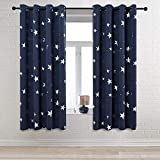 Anjee Navy Blue Star Print Blackout Curtains for Kids Room (2 Panels), Thick Thermal Insulated Window Drapes, Each Panel W52 x L63 in