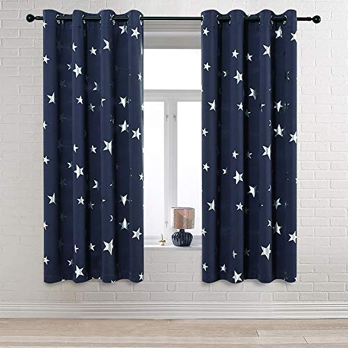 Anjee Navy Blue Star Print Blackout Curtains 63 Inch for Kids Room (2 Panels), Thick Thermal Insulated Window Drapes, Each Panel W52 x L63 in (Navy Blackout Curtains Kids)