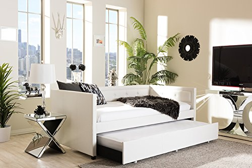 Baxton Studio Filberte Modern and Contemporary White Faux Leather Button Tufting Sofa Daybed with Roll Out Trundle Guest Bed, Twin
