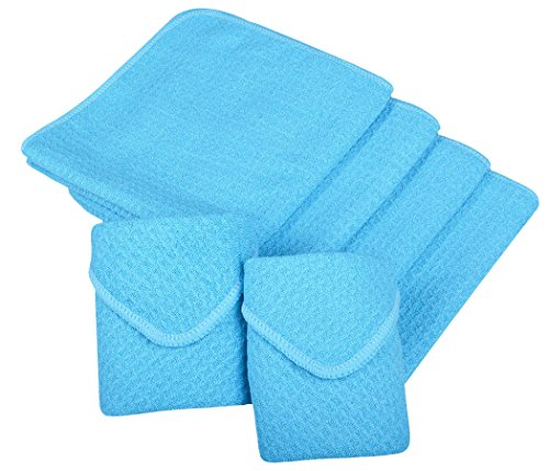 affle Weave Kitchen Dish Cloths Drying Cleaning Cloth 13inchx13inch 6 Pack Turquoise ()