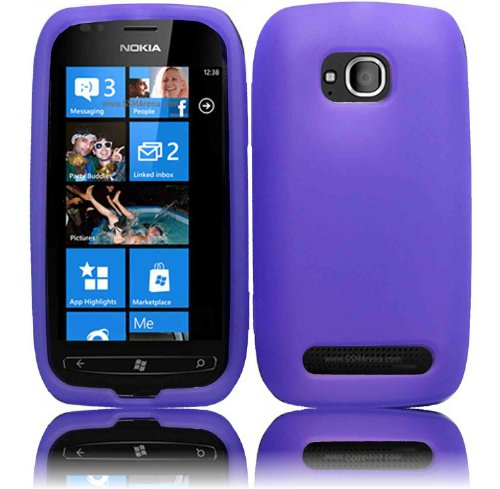 Purple Cell Phone Silicone Case / Executive Protector Skin Cover for Nokia Lumia 710