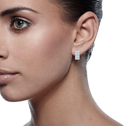 Gemini Women's Platinum Plated Hoop Swarovski Crystal Huggie Earrings for Ladies Gm081 , Color: White Gold