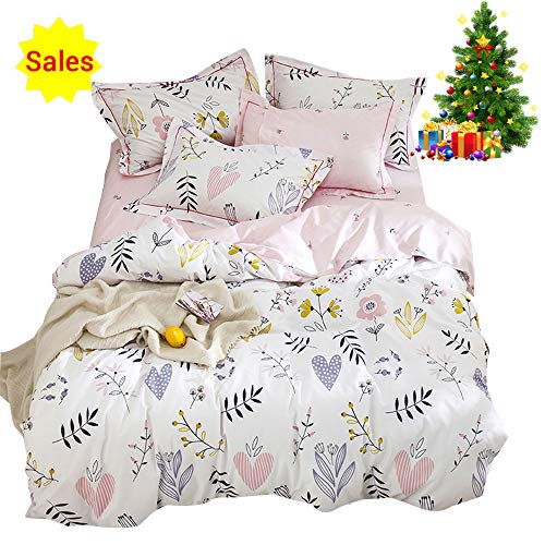OROA Soft Cartoon Plant Flower Print Girls Twin Bedding Duvet Cover Sets Cotton 100 Percent for Kids Toddler Teen Women Colorful Floral Reversible Teen Bedding Sets Twin Pink Black Friday & Cyber Monday 2018