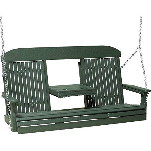 (LuxCraft Classic Highback 5ft. Recycled Plastic Porch Swing )