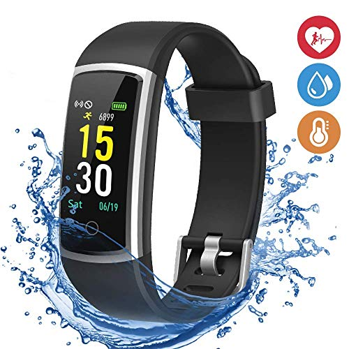 Fitness Tracker with Blood Pressure Monitor, Colorful Screen Activity Tracker Watch IP67 Waterproof Smart Fitness Band with Step Counter, Calorie Counter, Pedometer Watch for Women Men Father's Day Gi ()