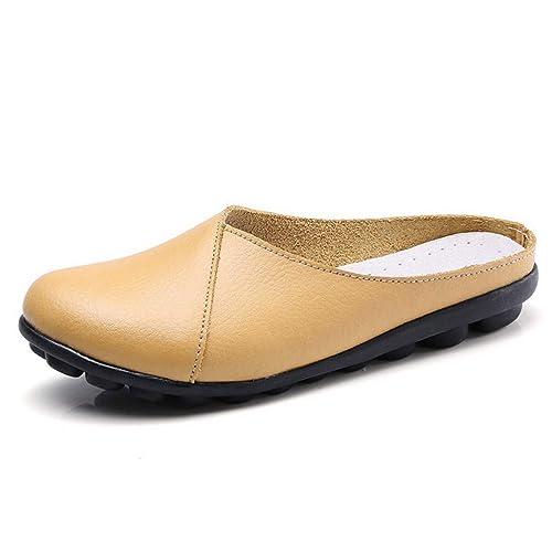Las Mujeres De Plataforma Plana Mocasines Zapatillas Pisos De Cuero De Vaca ResbalóN En Costura SóLida Punta Redonda Damas Zapatos Casuales: Amazon.es: ...