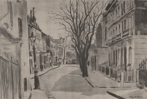 Cheyne Row by Clifford Hall 1947 old vintage print picture CHELSEA
