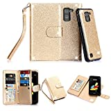 TabPow LG G Stylo 2 (LS775) Case, 10 Card Slot - [ID Slot] Wallet Folio PU Leather Case Cover With Detachable Magnetic Hard Case For LG G Stylo 2 LS775 - Glitter Gold
