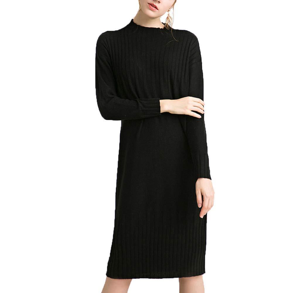 Black Haiyugua Women's High End Autumn Winter Halfhigh Loose Waist Wool Knit Dress Breathable Maxi Dress