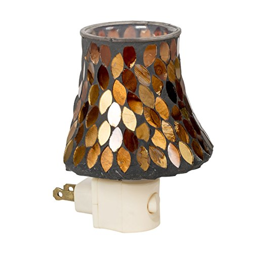 - Amber Leaves Mini Lampshade 5 x 4 Glass Electric Wall Plug-In Mosaic Night Light