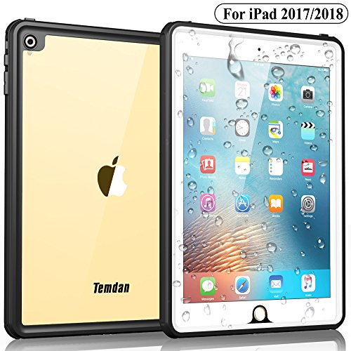 Temdan iPad 2017/iPad 2018 Waterproof Case Rugged Sleek Transparent Cover with Built in Screen Protector Waterproof Case for Apple iPad 2017/2018 9.7 inch (White)