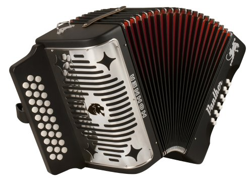 Hohner Panther G/C/F 3-Row Diatonic Accordion - Black -