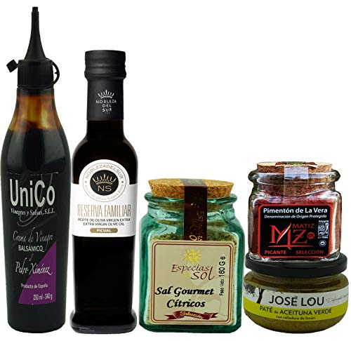 GIFT BASKET-IMPORTED FROM SPAIN- GOURMET FOOD-5 PREMIUM ARTISAN PRODUCTS-XTRA VIRGIN OLIVE OIL- PX BALSAMIC CREAM-GREEN OLIVE Pâté-SMOKED SPICY PAPRIKA-GOURMET CITRIC SALT. CHEF OLE PICASSO BOX. ()