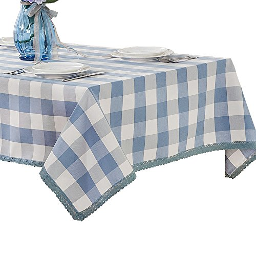 R.LANG Lattice Heavy Weight Fabric Tablecloth Oval 60 x 84-inch Spillproof Jacquard Tablecloth Light Blue (Treated Lattice)