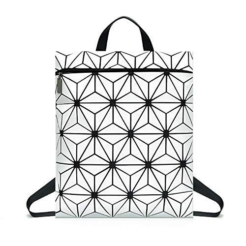 WDBAO Zaino Geometrico Da Donna Borsa A Zaino Rombico Con Motivo Laser White