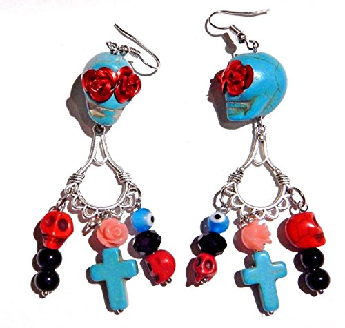 (Cross) Day of the Dead Rose and Turquoise Sugar Skull Earrings with Crosses COCO Earrings -