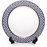 Set of Dining Plates Cobalt Blue Net Ornament, 24K Gold-plated Accents, Vintage Design Bone China Porcelain Tableware