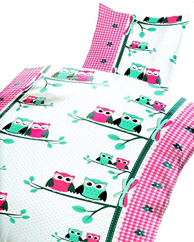 Bettwäsche Eule 135 x 200 cm in pink aus Microfaser (Qualitätsware)