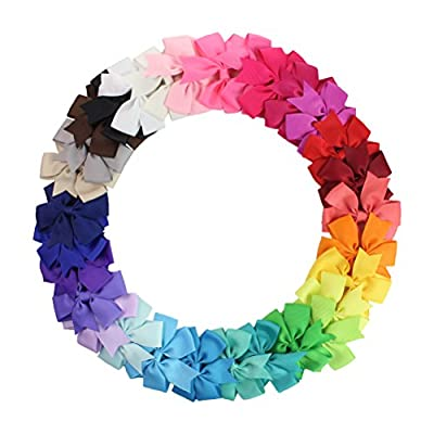 Girls Hair Bow Clips, Barrettes Pinwheel Bonytail Hair Bows with Clip (30pcs solid color)