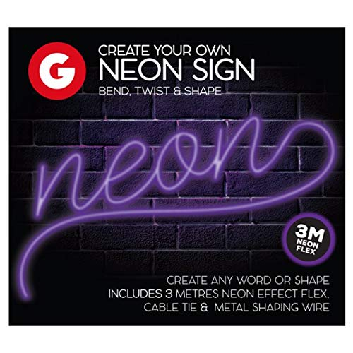 The Home Fusion Company Make Your Own Neon Effect Sign 3M Neon String Light Message Kit Pink Blue Or Purple (Make Your Own Neon Effect Sign Kit)