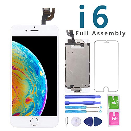 Screen Replacement for iPhone 6 White 4.7 Inch LCD Display Touch Digitizer Full Assembly Repair Kit, with Home Button, Proximity Sensor, Earpiece, Front Camera, Screen Protector, Repair Tools - Full Display Assembly