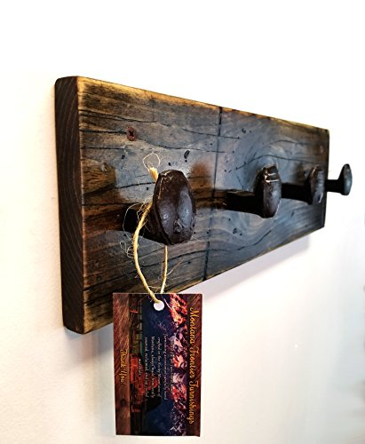 51CS701S 9L - Rustic Distressed Coat and Hat Rack | 17 Inch Solid Wood Wall Mounted Rack with 4 Reclaimed Railroad Spike Hook Hangers