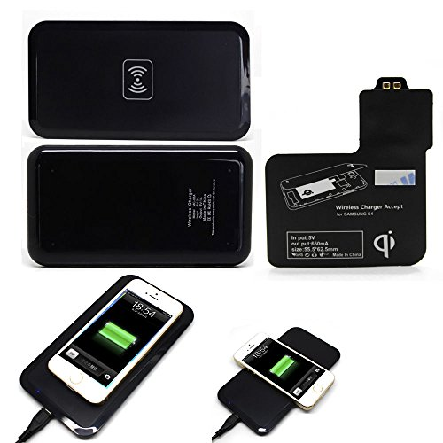 Geekercity® QI Wireless Charging Pad + Receiver for Samsung Galaxy S4 -QI Standard QI Enabled Wireless Charger Inductive Power Charging Transmitter Pad Station Charger Mat With Receiver Set For Samsung Galaxy S4