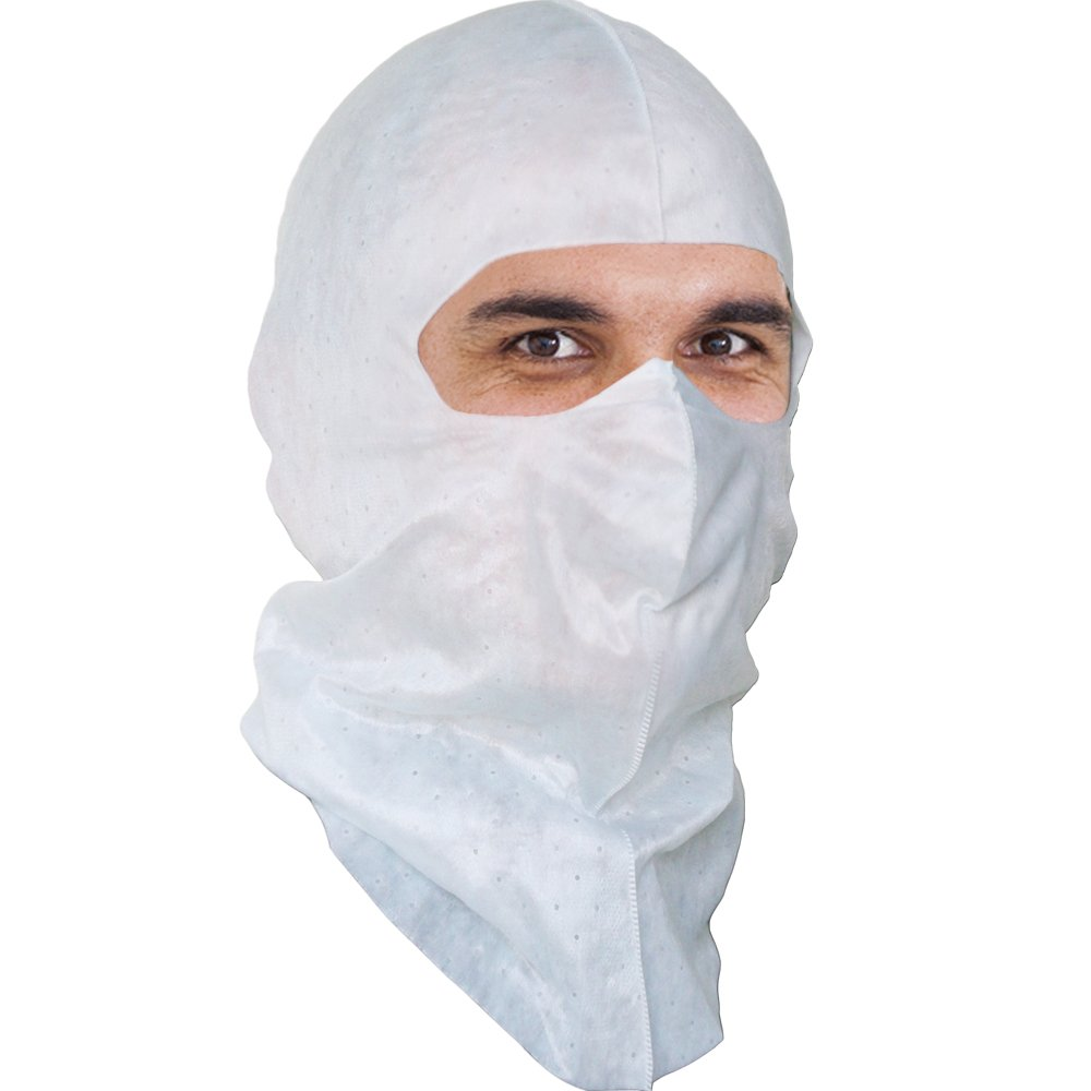 White Soft-stretch Hood & Face Mask Chemical Protection, Superior Protection to Spray Sock and Disposable Hood. $1.56 Ea, 50 Per Pack by VitaFlex Soft-stretch Hood