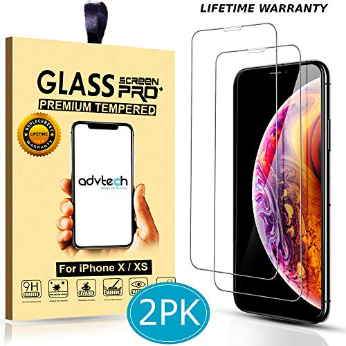 ADVTECH [2-Pack] iPhone X XS Screen Protector [2.5D Curved Edges] Tempered Glass [HD Clarity] Ultra Thin [6X Stronger] for Apple iPhone 5.8 inch [9H Hardened Glass] (Clear 2.5D Curved Edge)
