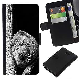 NEECELL GIFT forCITY // Billetera de cuero Caso Cubierta de protección Carcasa / Leather Wallet Case for Sony Xperia M2 // Bebé Sleepy Koala