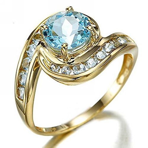 Huanhuan Womens Blue Aquamarine CZ Yellow Gold Plated Unique Design Wedding Rings Size 6 to 10