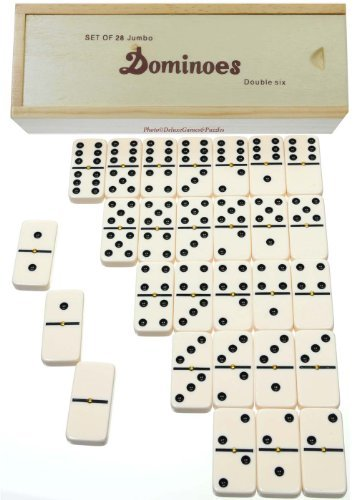 (Dominoes Jumbo Tournament Off-White color with Black Pips _ Double Six Set of 28 _With Brass Spinners)