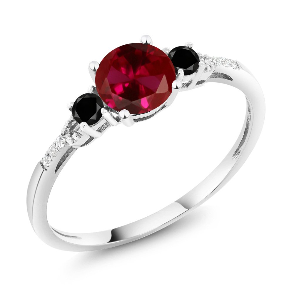 10K White Gold Diamond Accent Three-stone Engagement Ring set with Red Created Ruby Black Diamond 1.18 cttw