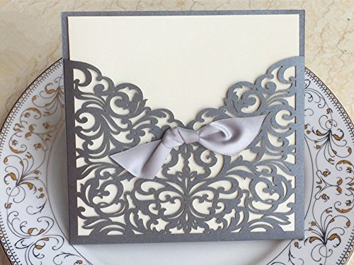 "- Graces Dawn 50pcs Laser-cut Lace Flower Pattern Wedding Invitations Cards(set of 50pcs) and Blank Cards and Envelopes 6 x 6"" - Value Pack (Silver)"