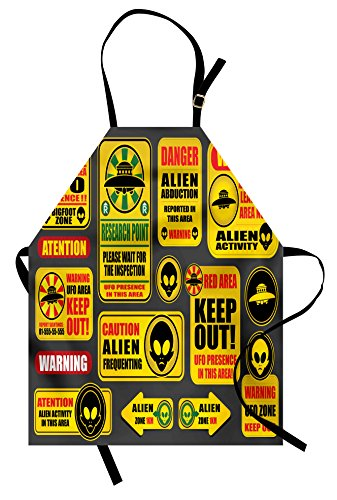 Lunarable Outer Space Apron, Warning Ufo Signs with Alien Faces Heads Galactic Theme Paranormal Activity Design, Unisex Kitchen Bib Apron with Adjustable Neck for Cooking Baking Gardening, Yellow by Lunarable