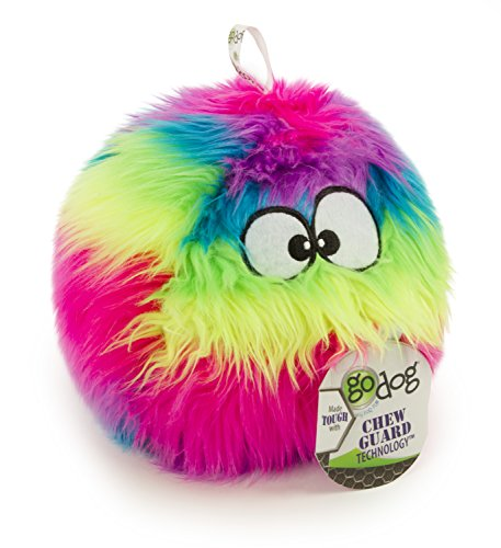 goDog Furballz Rainbow Plush Dog Toy with Chew Guard Technology, Large, Rainbow ()