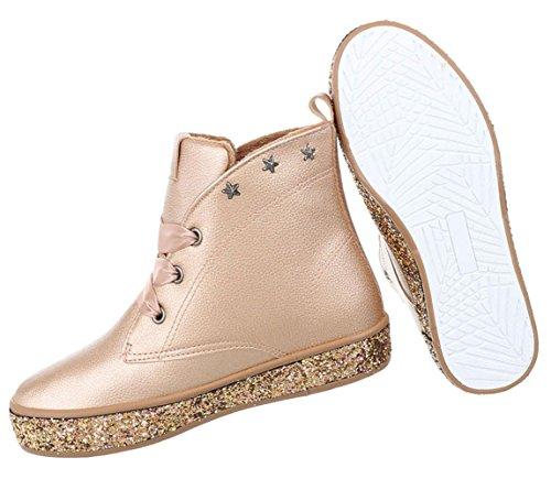 Damen Stiefelette Leder-Optik | Winterstiefel Boots | Kurzschaft Profilsohle | Knöchelhohe Stiefel gefüttert | Stiefeletten Blockabsatz | Schnürstiefelette Glitzer Stiefel | Schuhcity24 Champagner